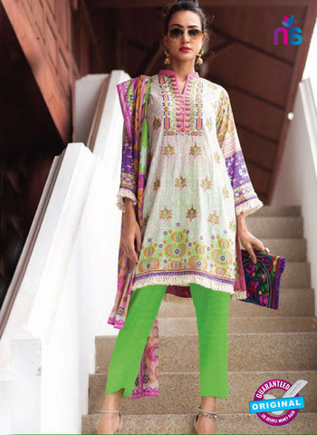 SC 13947 White and Green Cambric Cotton Latest Exclusive Fancy Wear