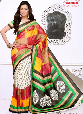 NS11831 B White and Multicolor Cotton Based Saree