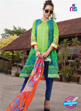 SC 13948 Green and Blue Cambric Cotton Latest Exclusive Fancy Wear