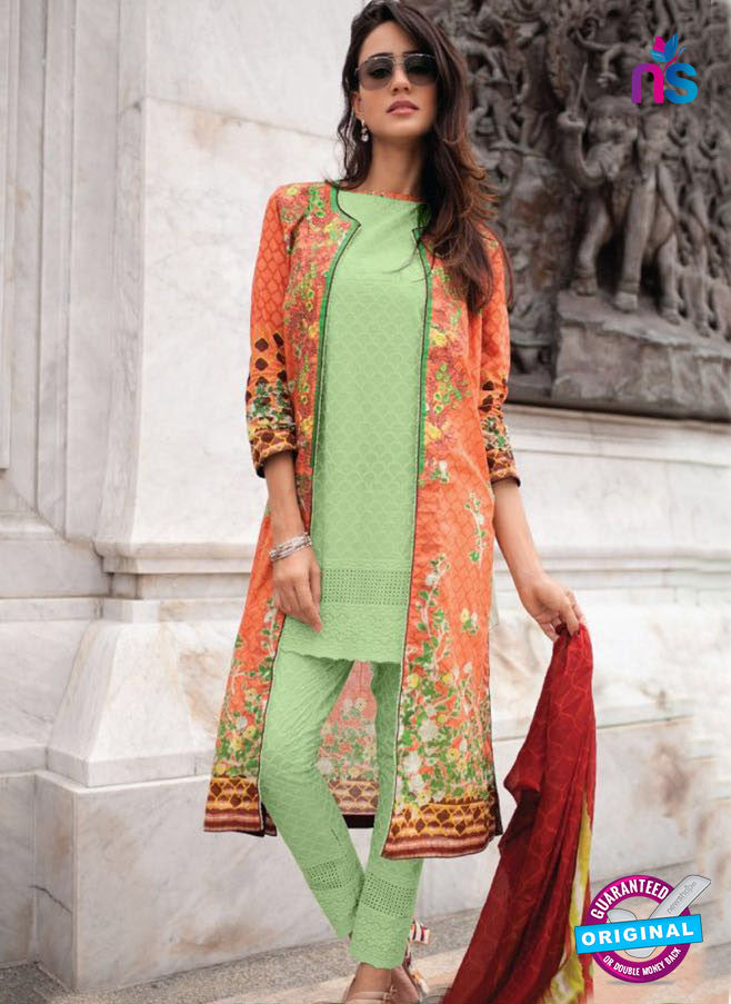 SC 13949 Green and Orange Cambric Cotton Exclusive Fancy Wear