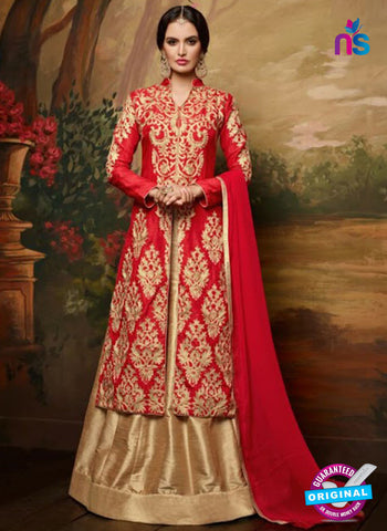AZ 4090 Red Banglori Silk Indo Western Suit