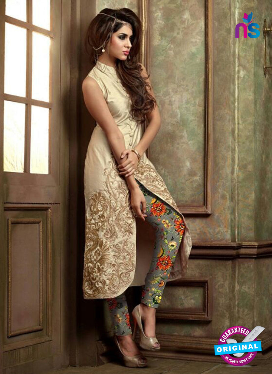 Maskeen 19004 Beige Silk Fancy Pakistani Suit