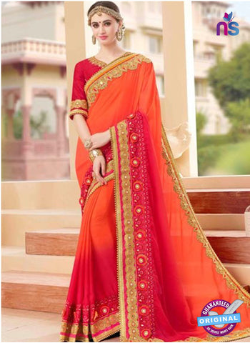 Glossy 19005 Orange and Pink Party Wear Saree