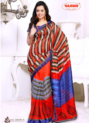 NS11833 A Violate Blue and Fanta Orange Cotton Based Saree