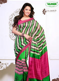 NS11834 B Dark Pink and Parrot Green Cotton Based Saree