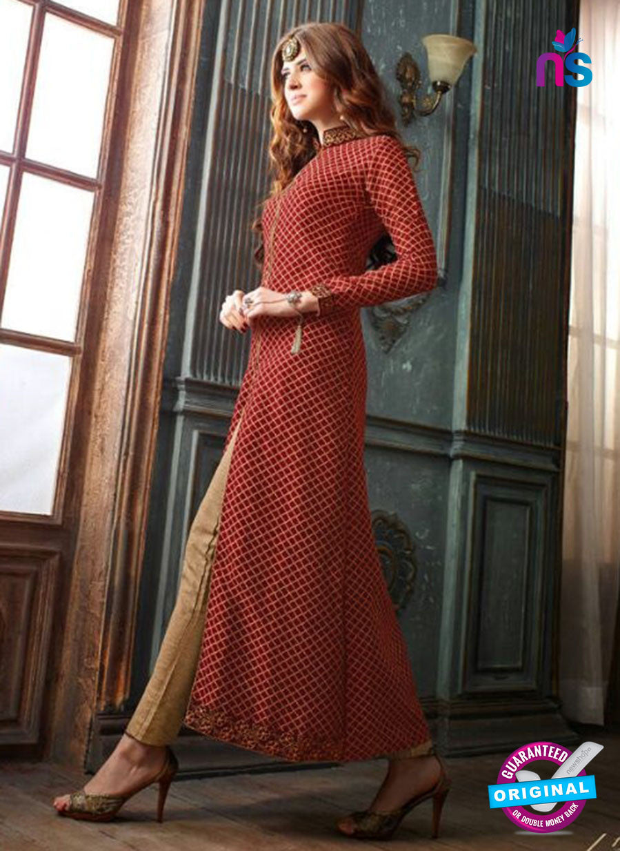 Maskeen 19008 Maroon and Beige Silk Fancy Pakistani Suit
