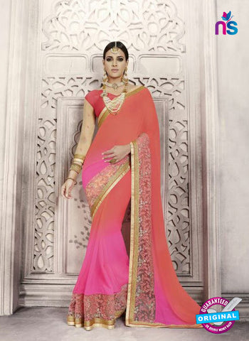 Peach Georgette Party Wear Saree