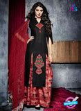 Teazle 1903 Black and Red Embroidery Lillian Cotton Plazo Suit