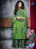 Teazle 1907 Green Embroidery Lillian Cotton Plazo Suit