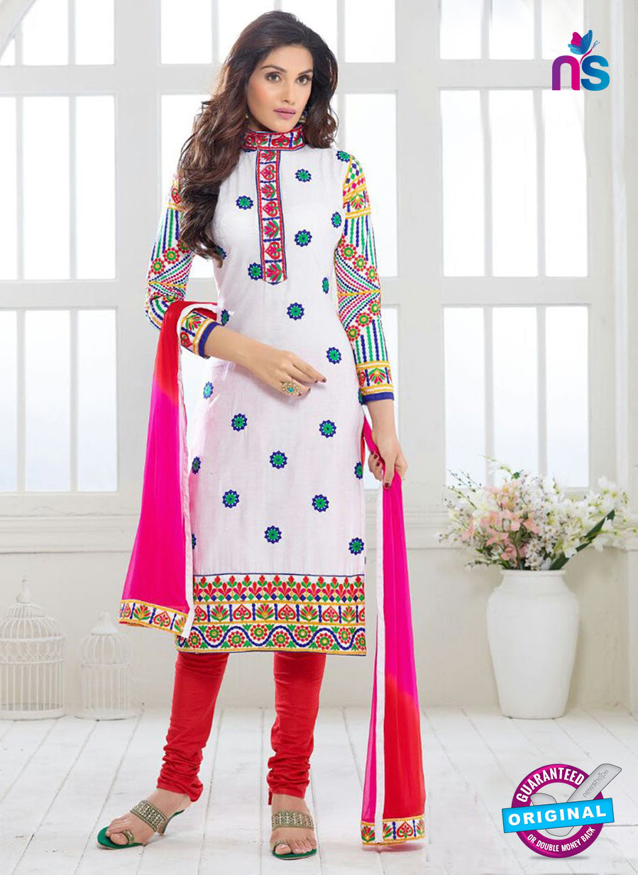 SC 13325 White and Red  Glace Cotton Suit