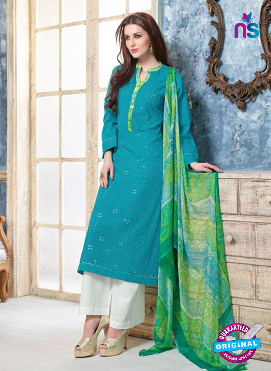 Sahiba 010 Blue and White Camric Suit