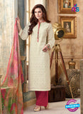 Sahiba 003 White and Pink Camric Suit