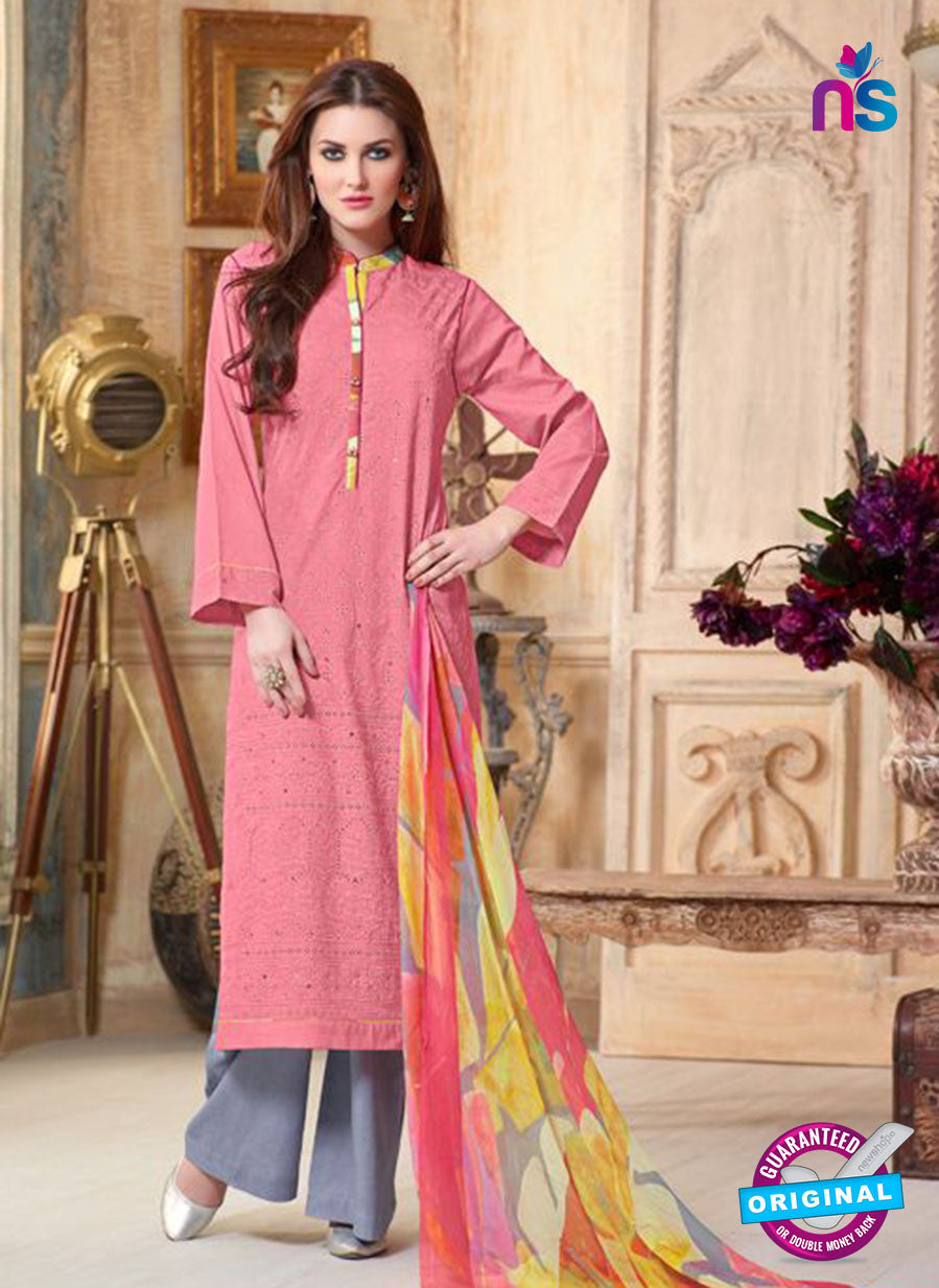 Sahiba 005 Pink and Blue Camric Suit