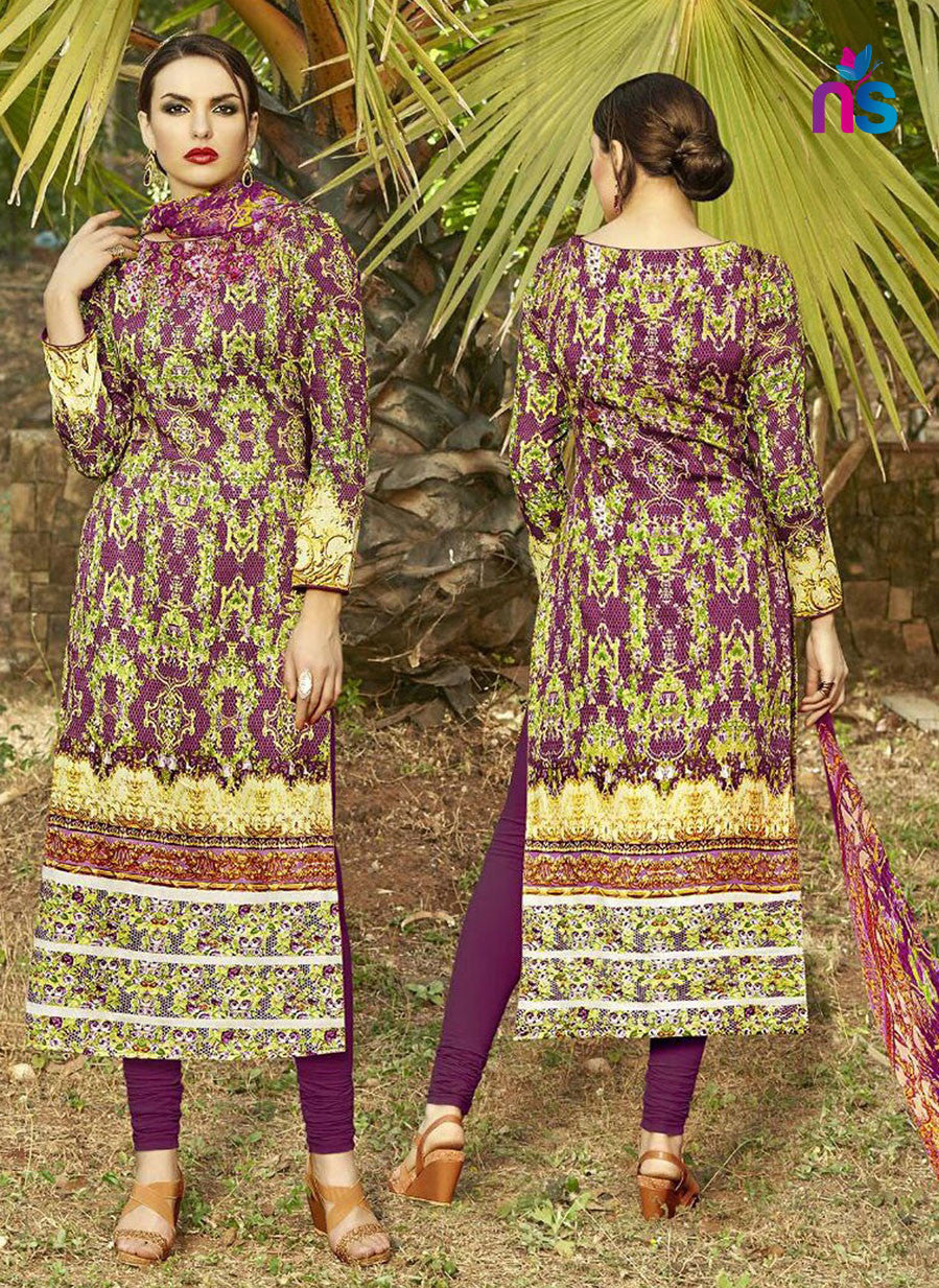 NS11268 Multicolor and Purple Party Wear Cotton Satin Long Straight Suit