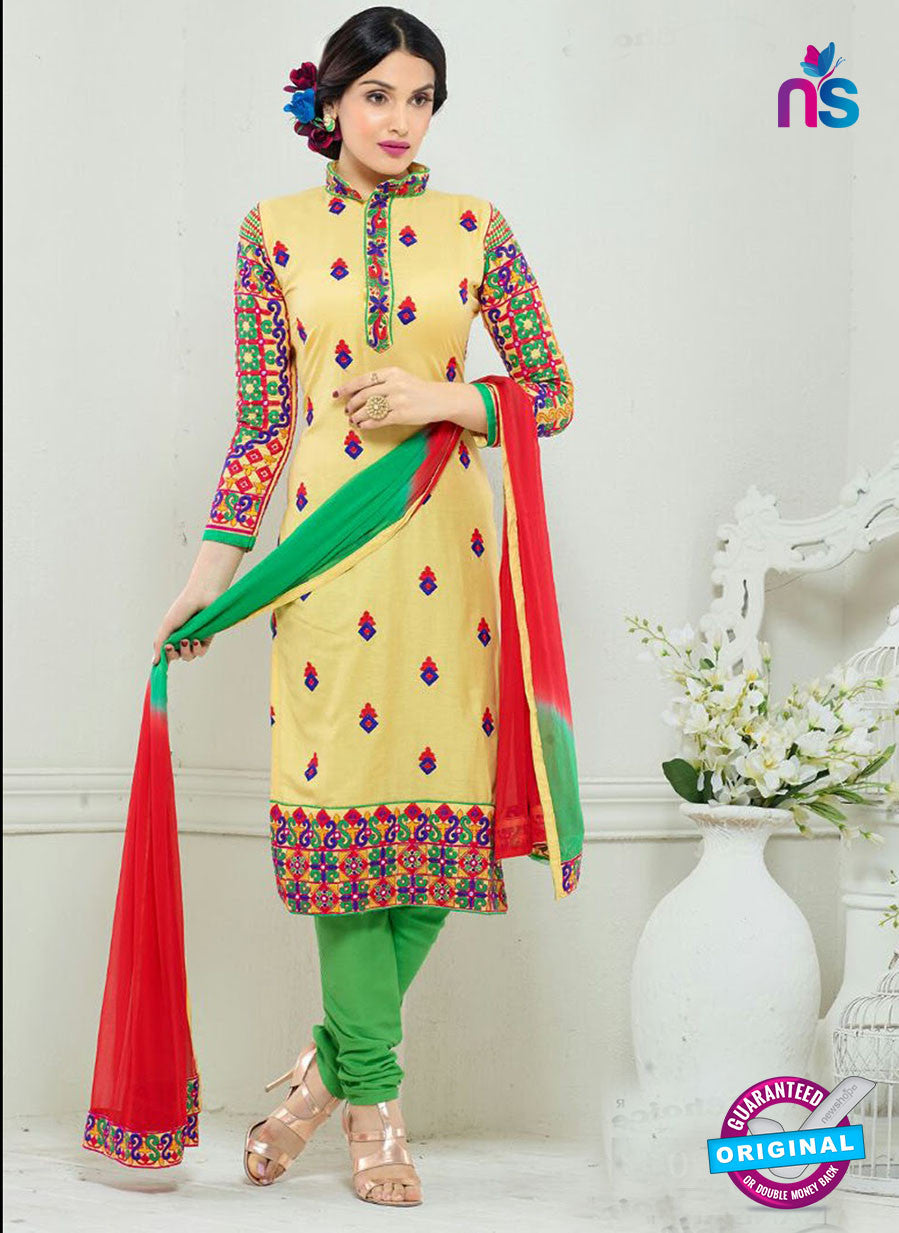 SC 13326 Yellow and Green Glace Cotton Suit