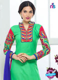SC 13327 Sea Green and Pink Cotton Suit