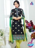 SC 13328 Black and Green Glace Cotton Suit