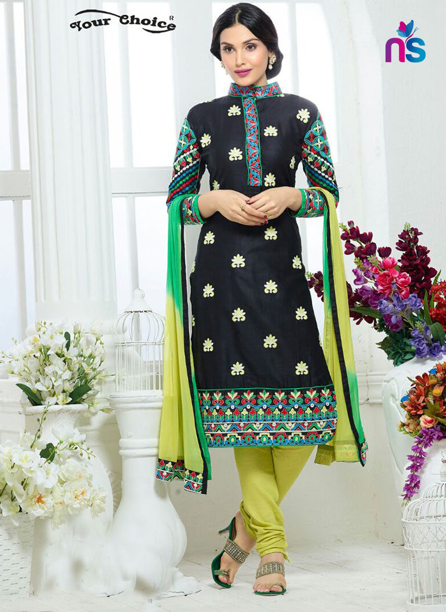 NS11221 Black and YellowGreen Party Wear Glace Cotton Straight Suit