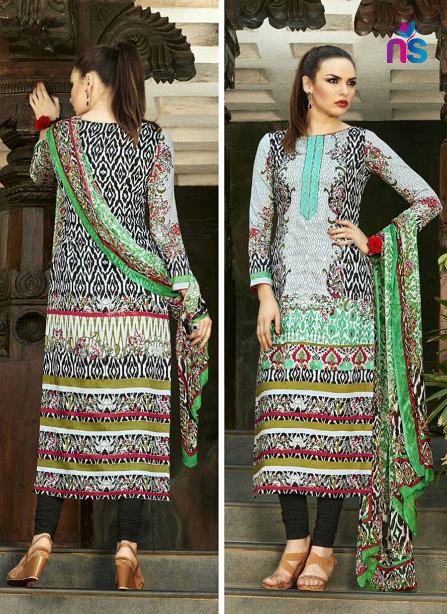 NS11269 Multicolor and Black Party Wear Cotton Satin Long Straight Suit