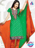 NS12210 Green and Orange Chudidar Suit