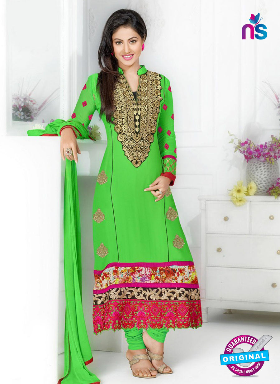 NS12257 Green and Pink Straight Suit