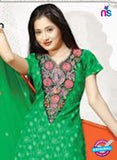 NS12210 Green and Orange Chudidar Suit Online