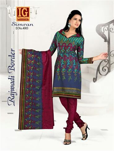 NS11698 Multicolor and Maroon Printed Popplin Cotton Daily Wear Chudidar Suit