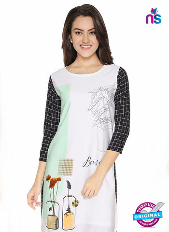 AZ 5183 White Crepe Formal Kurti