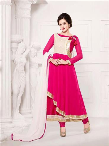 NS11911  Bright Pink and White Party Wear Georgette Anarkali Suit