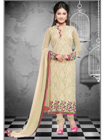 NS11649 Beige Georgette Straight Suit