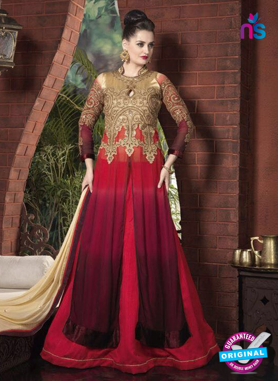 AZ 1053 Brown, Red and Maroon Net Georgette Party Wear Suit