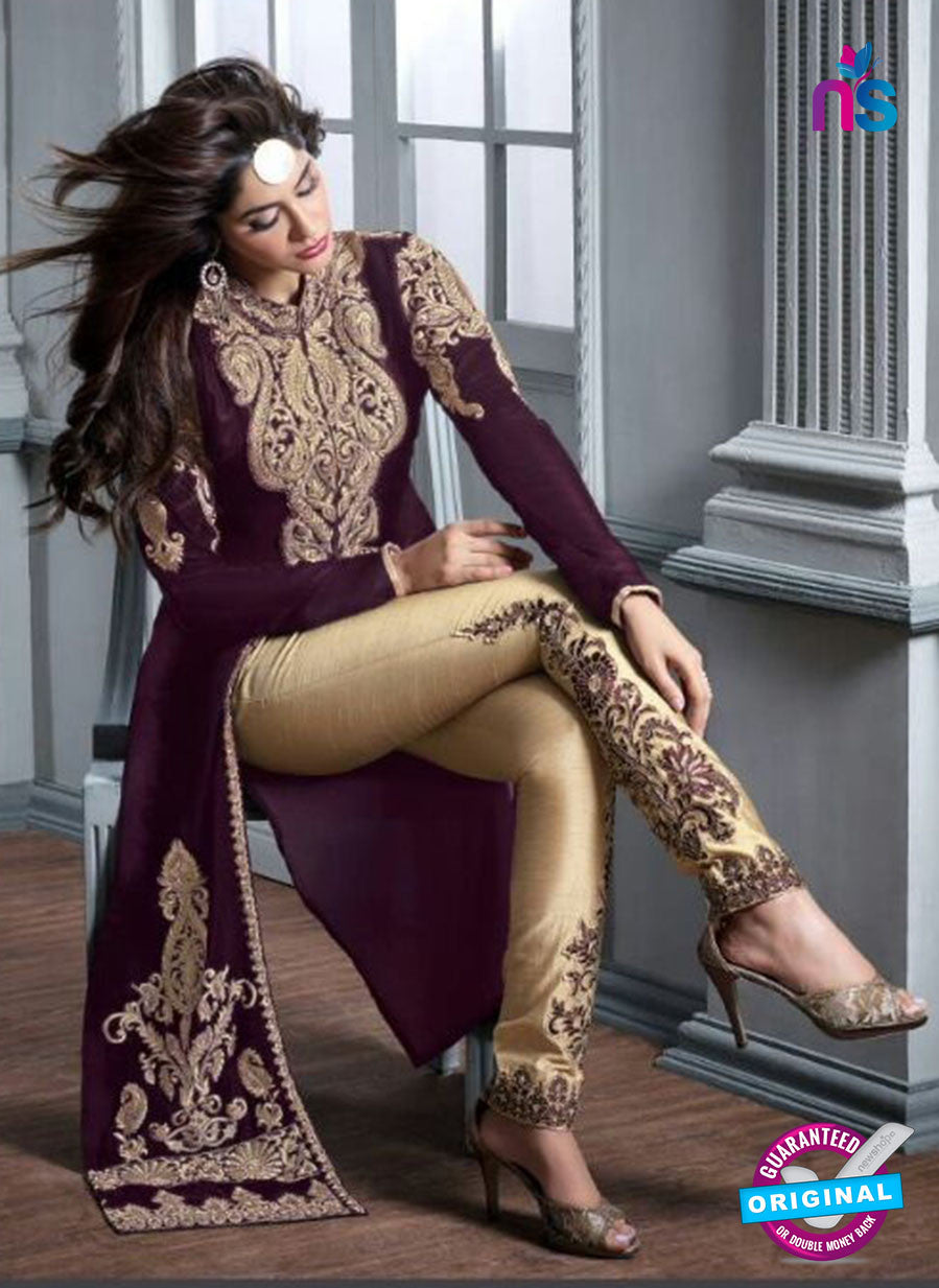 Maskeen 20004 Purple and Beige Velvet Fancy Pakistani Suit