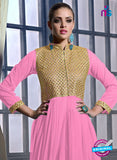 SC 13131 Pink and Golden Net Wedding Occasional Wear Designer Gawn