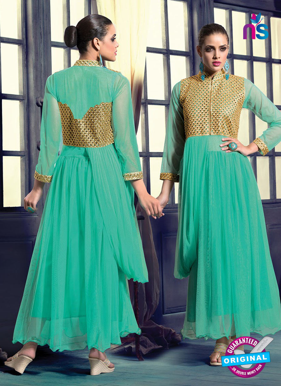 SC 13126 Green and Golden Net Wedding Occasional Wear Designer Gawn