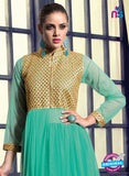 SC 13126 Sea Green and Golden Net Wedding Occasional Wear Designer Gawn