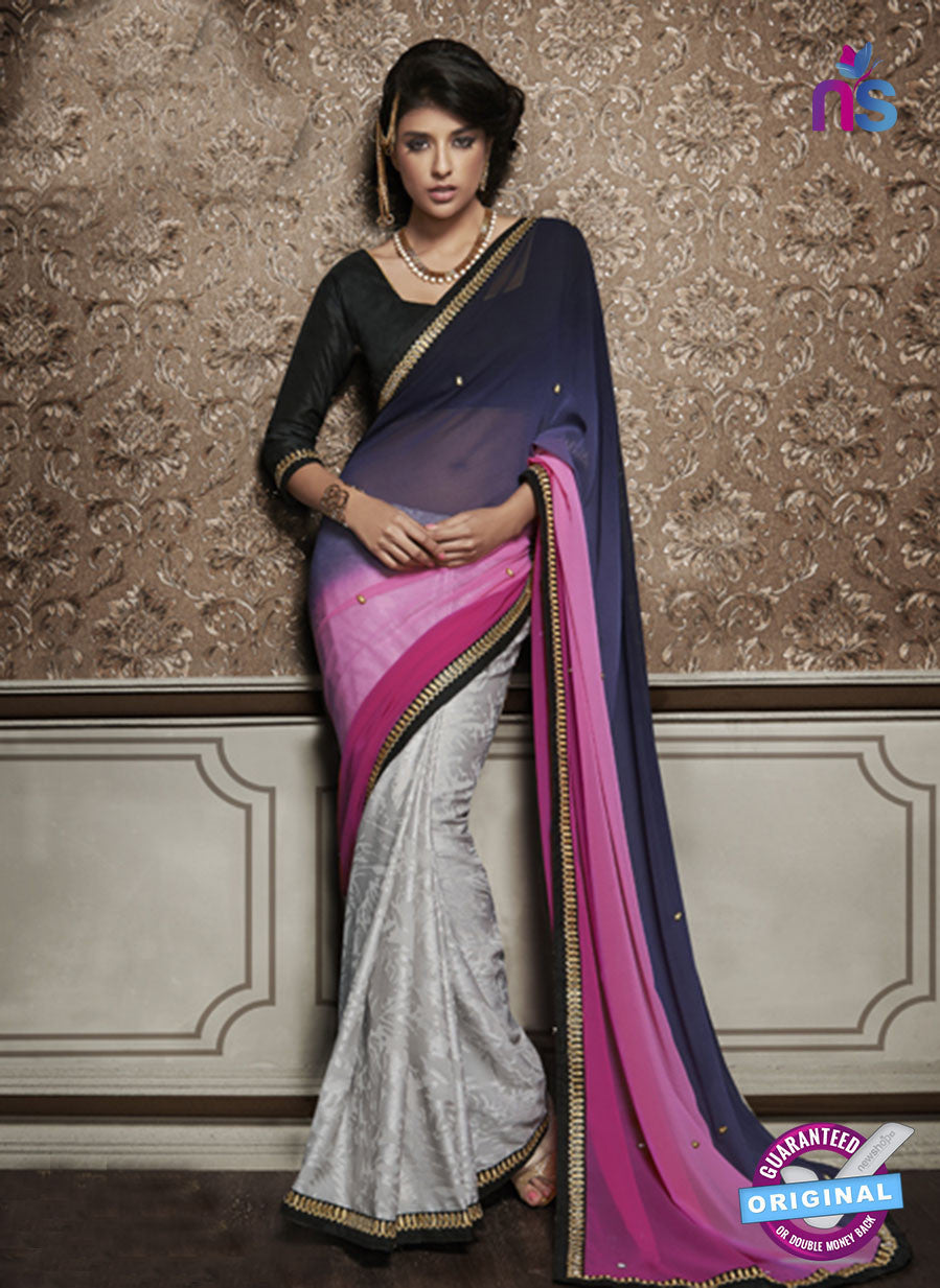NS10596 Party Wear, Blue, Pink and Gray Georgette Saree