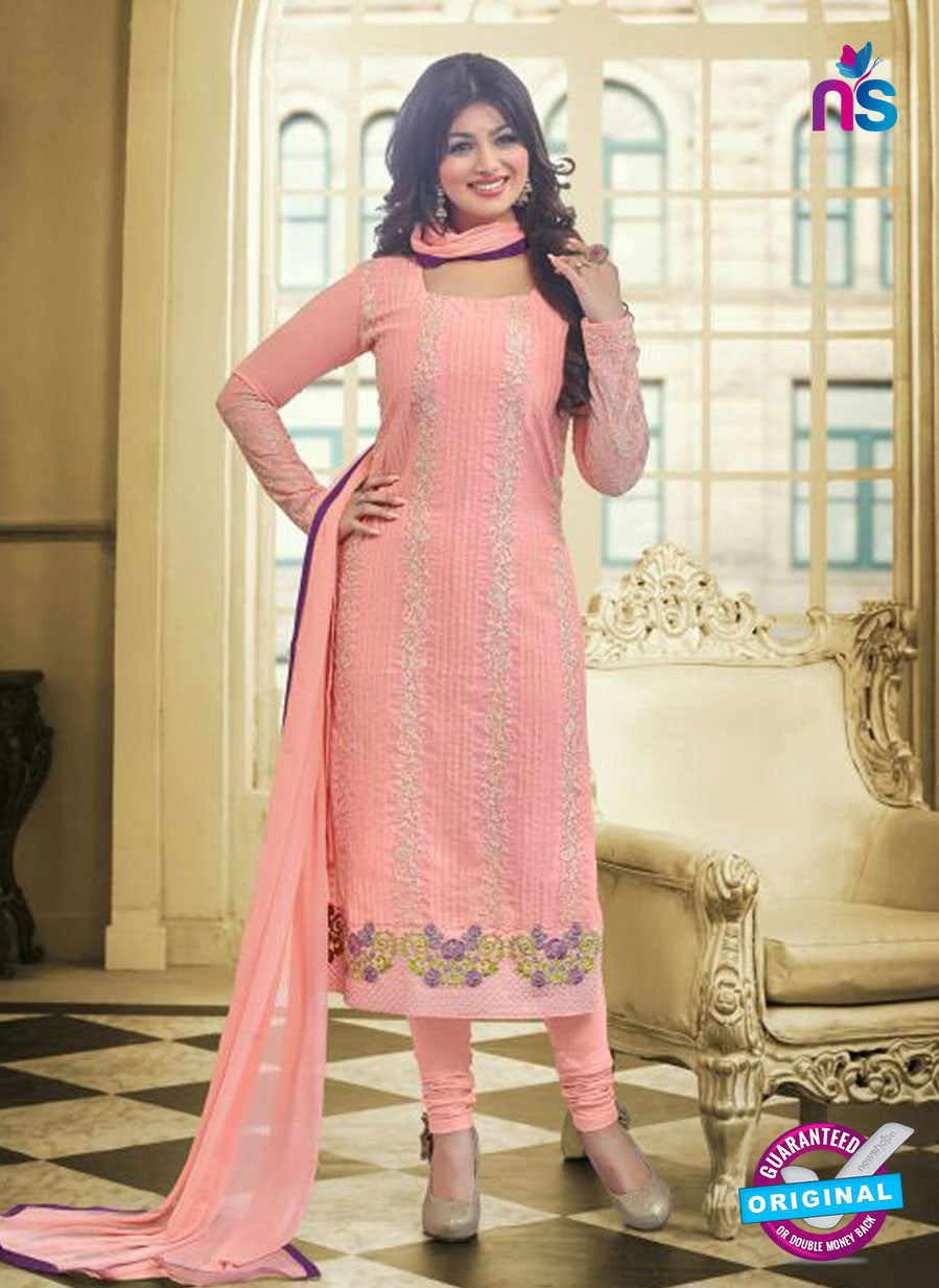 SC 13027 Pink Embroidered Heavy Georgette Party Wear Long Straight Suit