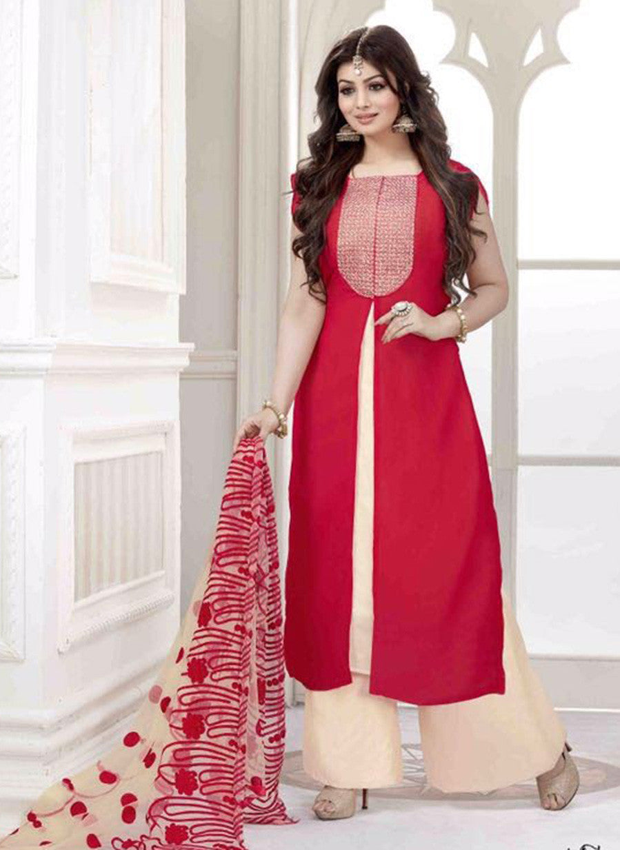 NS11482  Red & Beige Color Georgette Designer Suit