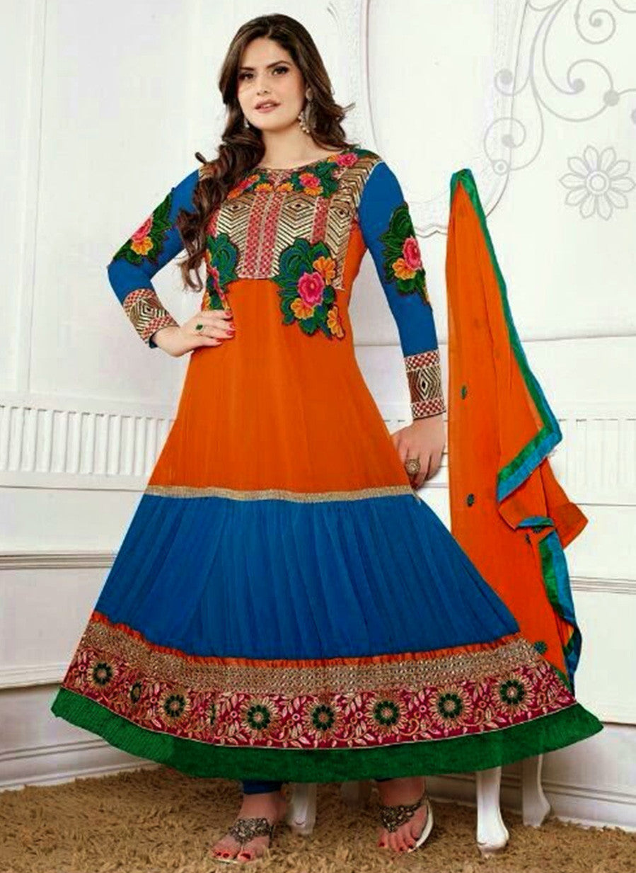 NS11946  Orange and Blue Georgette Anarkali Suit