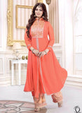 NS11483  Peach & Beige Color Georgette Designer Suit