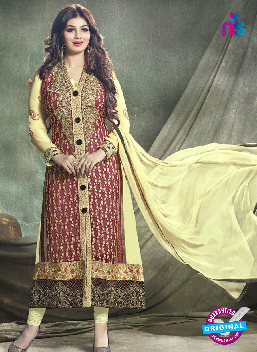 SC 12779 Yellow and Maroon Party Wear Foux Georgette Designer Suit