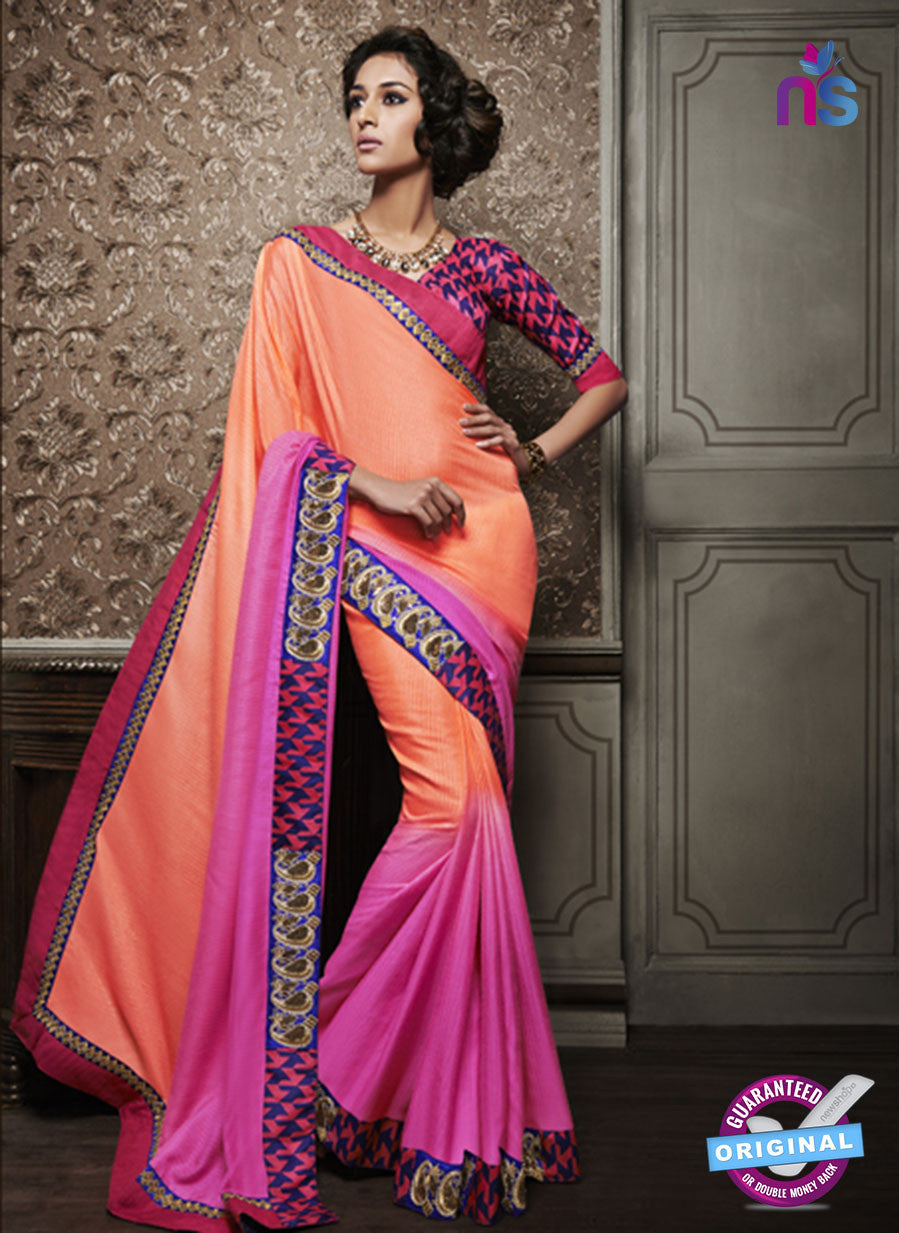 NS10597 Party Wear, Orange and Pink Georgette Saree