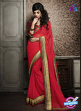 NS10598 Party Wear, Red Georgette Saree