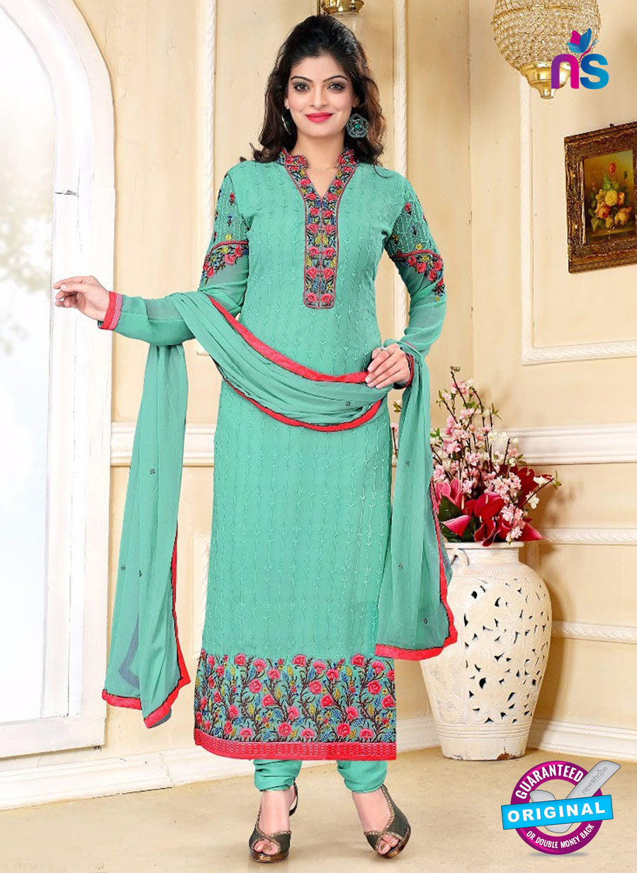 SC 13148 Green and Red Party Wear Georgette Straight Suit