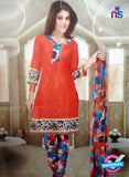 NS10095 Orange and Mulricolor Cotton Suit