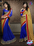 NS10599 Party Wear, Yellow and Blue Georgette Saree