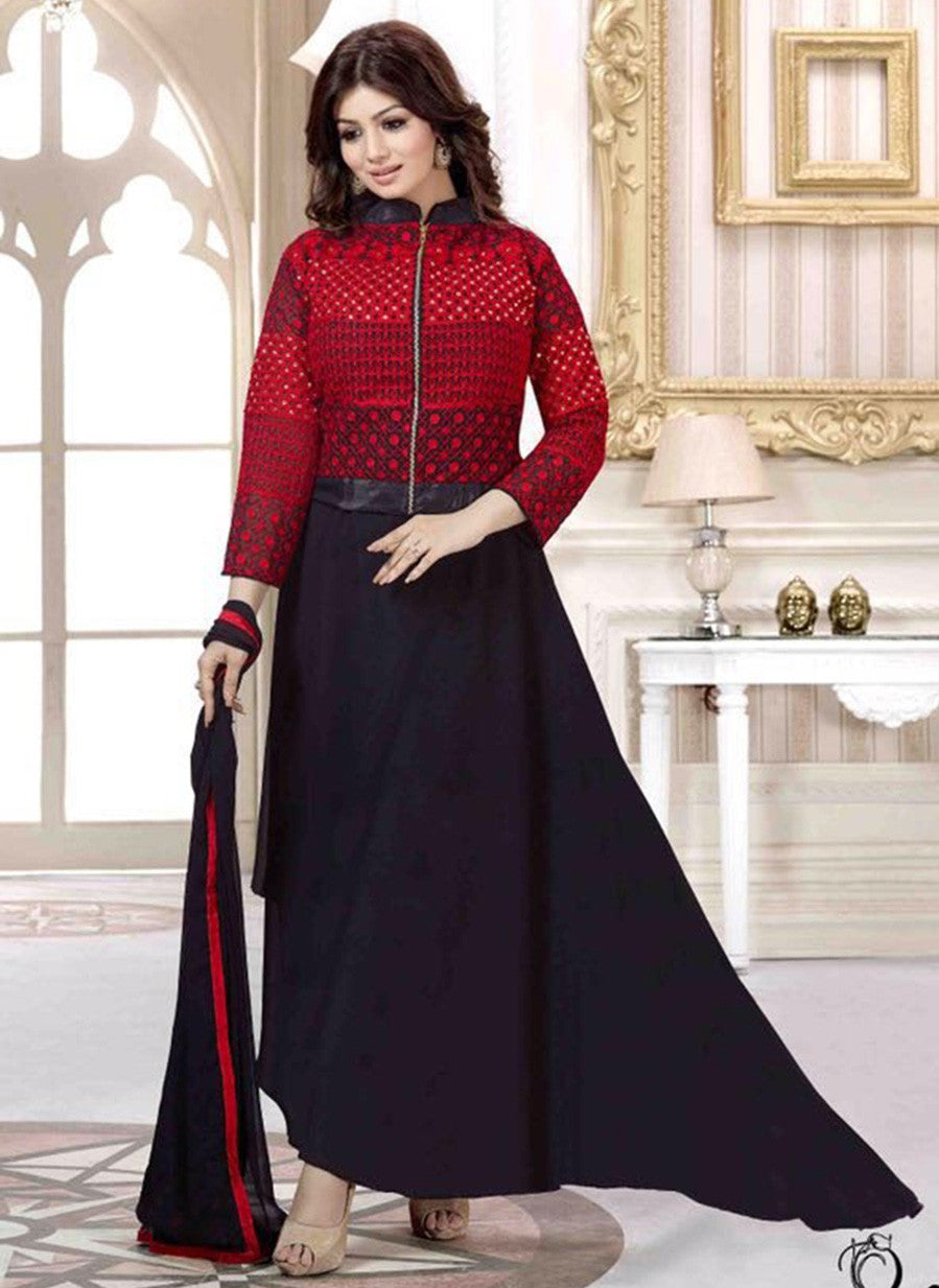 NS11486 Black & Red Color Georgette Designer Suit