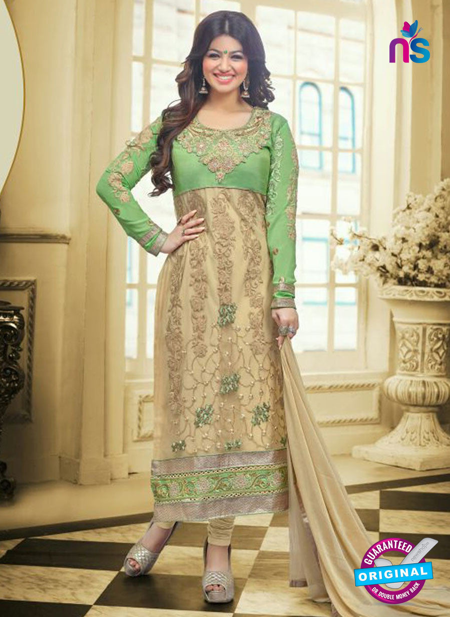 SC 13031 Green and Beige Embroidered Heavy Georgette Party Wear Long Straight Suit