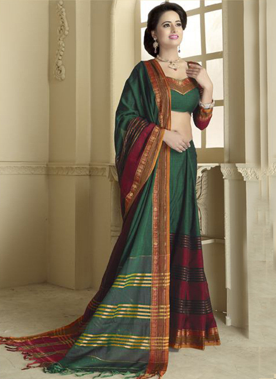 NS11780 Forest Green and Dark Red Daily Wear Traditional Cotton Saree