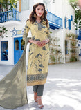Teazle 2006 Grey Color Glace Cotton Designer Suit